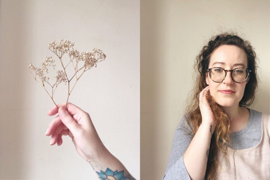 portrait of Kat and hand holding flower
